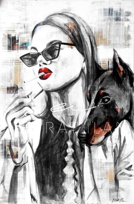 Dog smoke girl